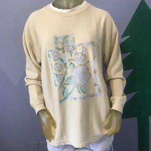 Vintage Puff Paint Floral Sweatshirt Large